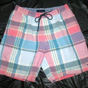 Tommy Hilfiger Mens Board Shorts Plaid Swim Trunks
